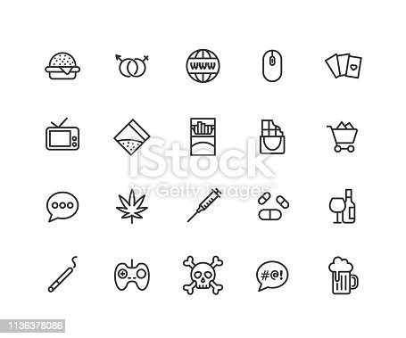 Simple Set of Bad habits Vector Line Icons. Contains such Icons as cigarette, cocaine, cannabis, shopping and more. Editable vector stroke. 48x48 Pixel Perfect