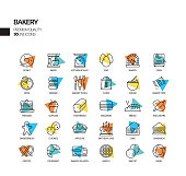 Simple Set of Bakery and Patisserie Related Spotlight Vector Line Icons. Outline Symbol Collection.