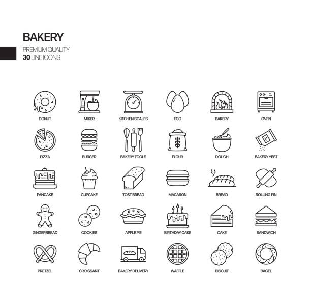 Simple Set of Bakery and Patisserie Related Vector Line Icons. Outline Symbol Collection. Simple Set of Bakery and Patisserie Related Vector Line Icons. Outline Symbol Collection. yeast stock illustrations