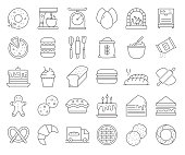 Simple Set of Bakery and Patisserie Related Vector Line Icons. Outline Symbol Collection. Editable Stroke.