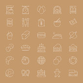 Simple Set of Bakery and Patisserie Related Vector Thin Line Icons. Outline Symbol Collection.