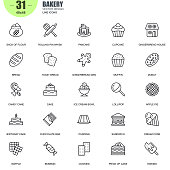 Simple set of bakery related vector line icons