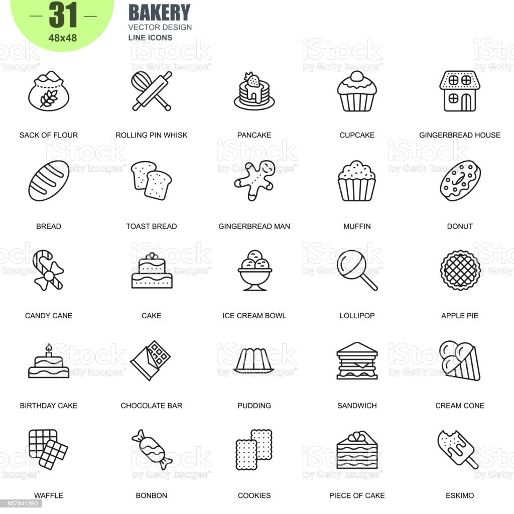 Simple set of bakery related vector line icons vector art illustration