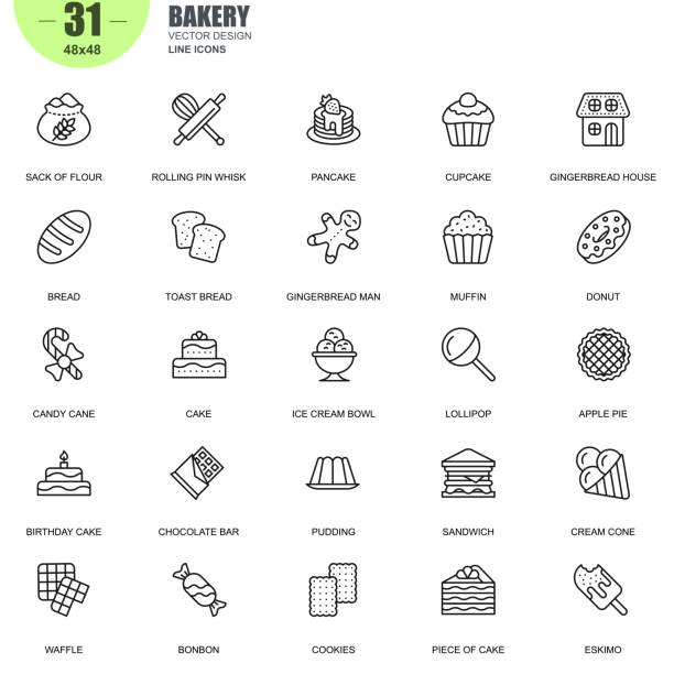 Simple set of bakery related vector line icons Simple Set of Bakery Related Vector Line Icons. Contains such Icons as Pancake, Ice Cream Bowl, Pudding, Candy Cane, Muffin, Donut and more. Editable Stroke. 48x48 Pixel Perfect. candy icons stock illustrations