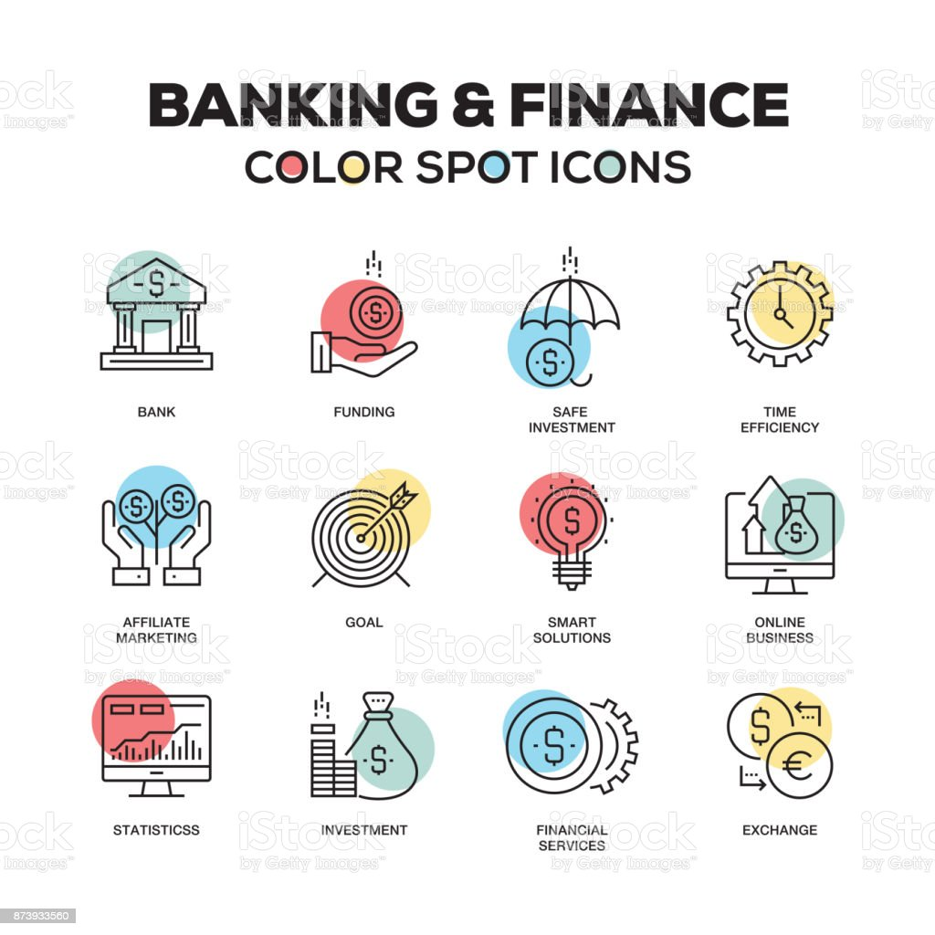 Simple Set of Banking and Finance Color Vector Line Icons vector art illustration
