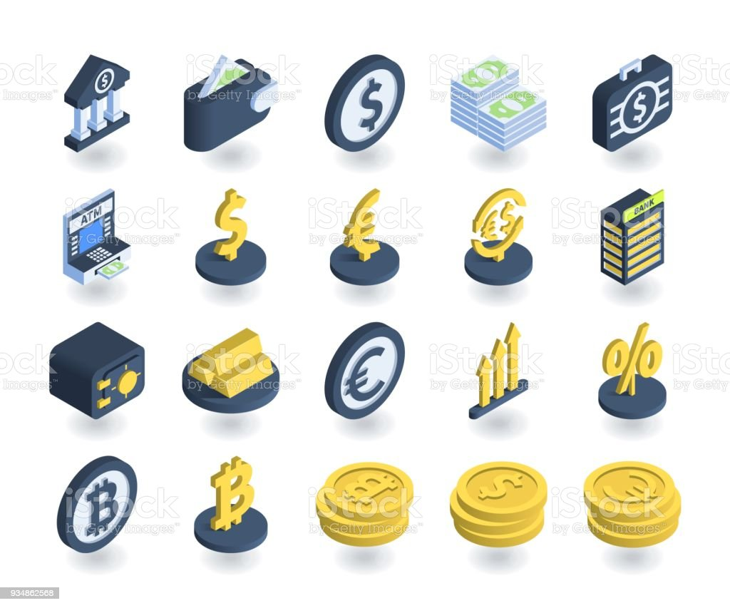 Simple Set of Banking Icons in flat isometric 3D style. Contains such icons as Wallet, ATM, Safe, Currency signs and more. vector art illustration