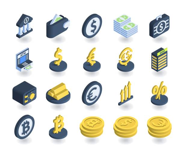 Simple Set of Banking Icons in flat isometric 3D style. Contains such icons as Wallet, ATM, Safe, Currency signs and more. Simple Set of Banking Icons in flat isometric 3D style. Contains such icons as Wallet, ATM, Safe, Currency signs and more. euro symbol stock illustrations