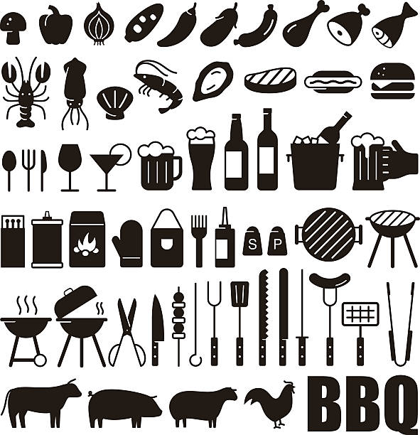 Simple Set of Barbecue Related Vector black Icons vector art illustration