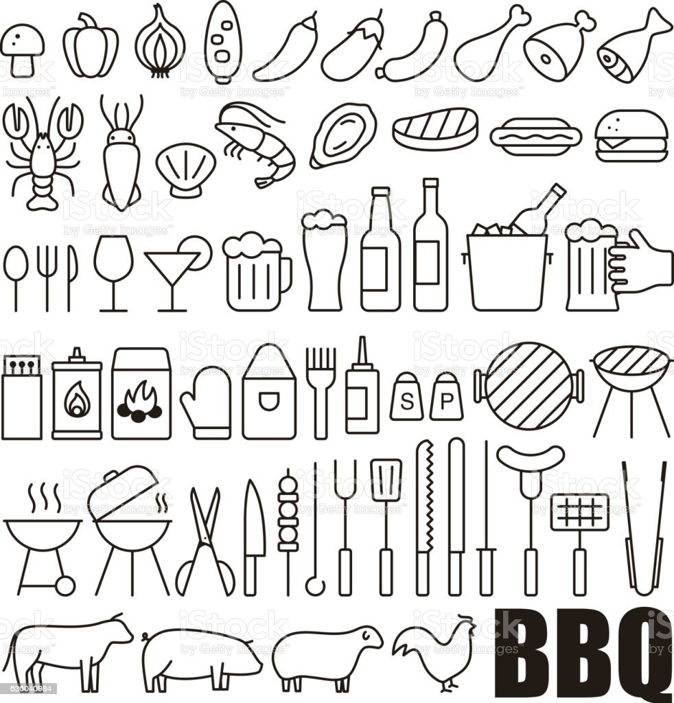 Simple Set of Barbecue Related Vector Line Icons vector art illustration