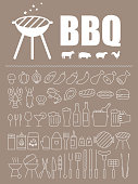 Simple Set of Barbecue Related Vector Line Icons. Contains such Icons as Steak, Ribs, Bonfire, Gas and more. Editable Stroke