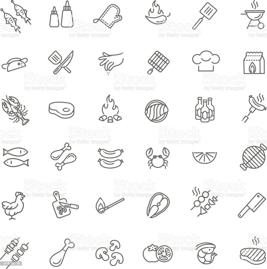 Simple jeu de Barbecue associés vecteur ligne icônes. - Illustration vectorielle