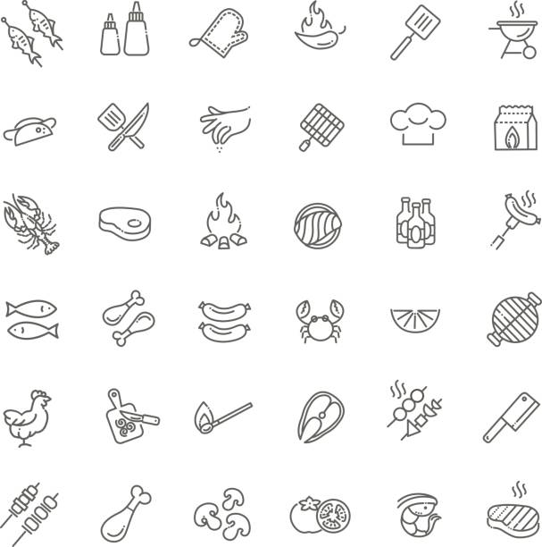 ilustrações de stock, clip art, desenhos animados e ícones de simple set of barbecue related vector line icons. - sauce tomatoes
