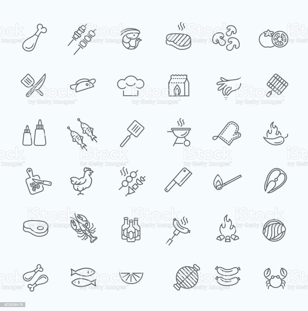 Conjunto simples de churrasco relacionados vetor linha de ícones. - ilustração de arte em vetor