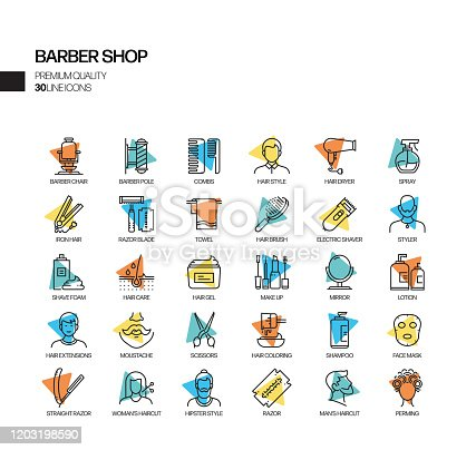 Simple Set of Barber Shop Related Spotlight Vector Line Icons. Outline Symbol Collection.