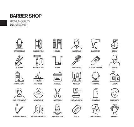 Simple Set of Barber Shop Related Vector Line Icons. Outline Symbol Collection.