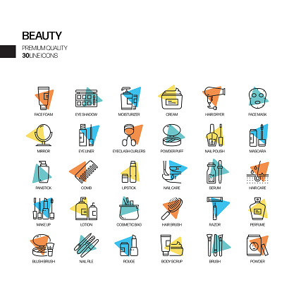 Simple Set of Beauty Related Spotlight Vector Line Icons. Outline Symbol Collection.