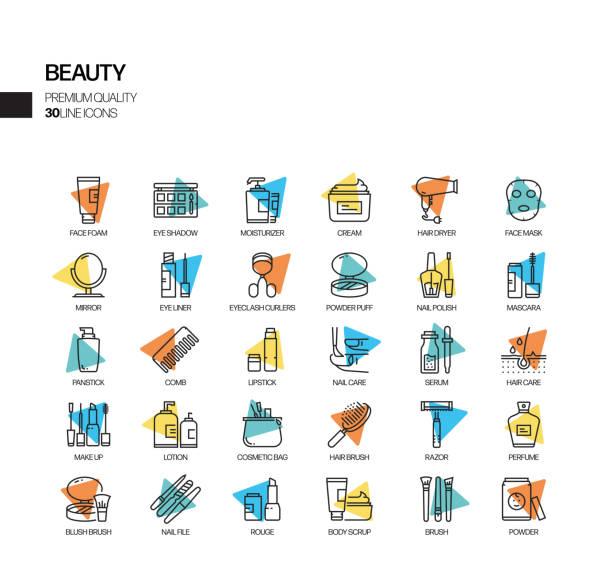 美容関連スポットライトベクトル線アイコンのシンプルなセット。アウトラインシンボルコレクション。 - 美容室点のイラスト素材/クリップアート素材/マンガ素材/アイコン素材