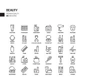 Simple Set of Beauty Related Vector Line Icons. Outline Symbol Collection.