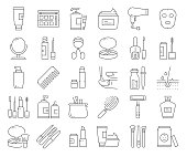 Simple Set of Beauty Related Vector Line Icons. Outline Symbol Collection. Editable Stroke