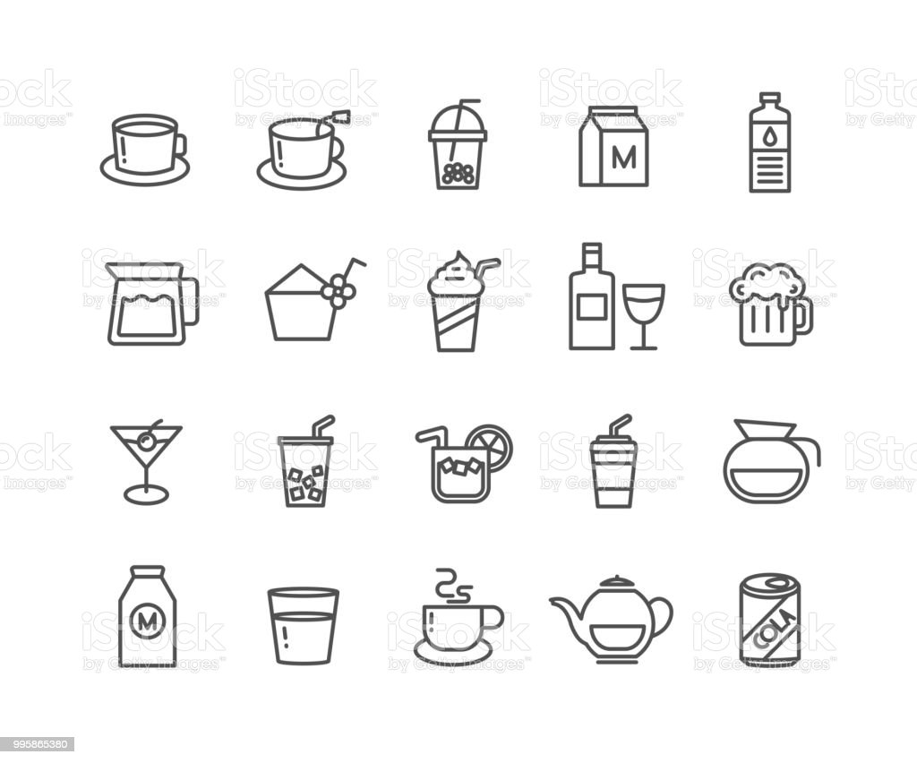 Simple Set of Beverage vector thin line icons vector art illustration