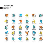 Simple Set of Beverages Related Spotlight Vector Line Icons. Outline Symbol Collection.