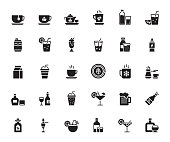 Simple Set of Beverages Related Vector Icons. Symbol Collection.