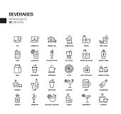 Simple Set of Beverages Related Vector Line Icons. Outline Symbol Collection.