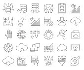 Simple Set of Big Data Related Vector Line Icons. Outline Symbol Collection. Editable Stroke