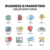 Simple Set of Business and Marketing Color Vector Line Icons