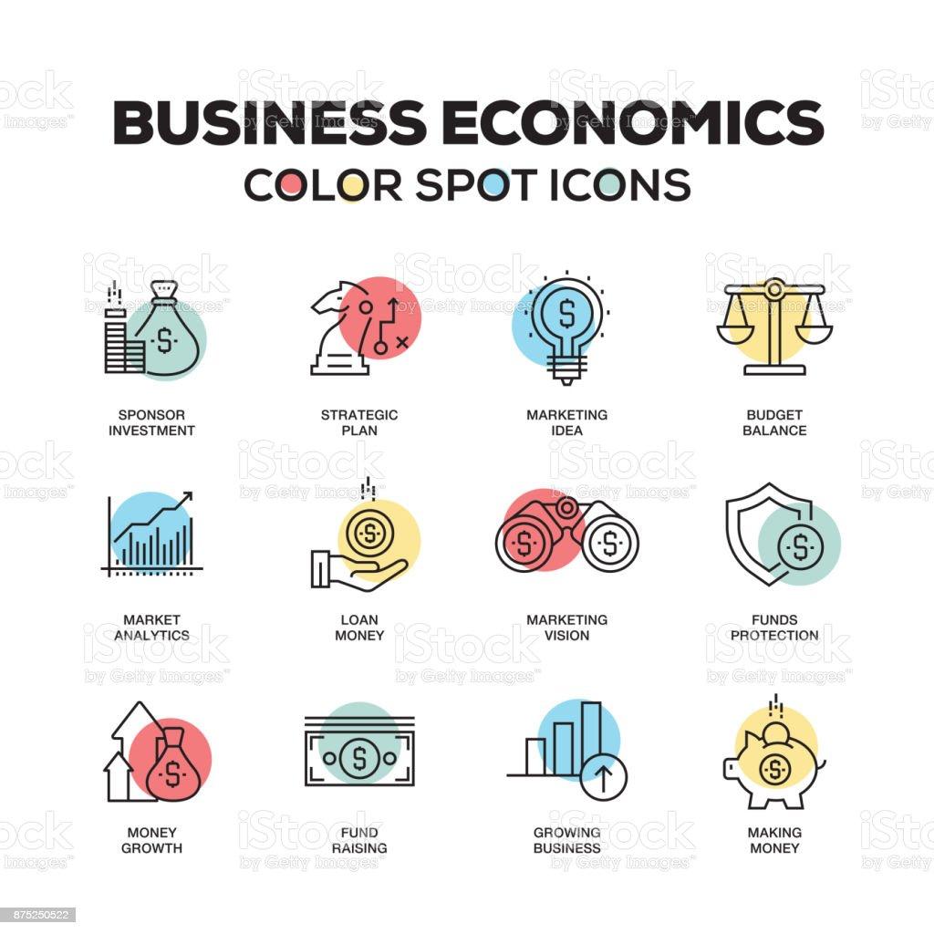 Simple Set of Business Economics Color Vector Line Icons vector art illustration