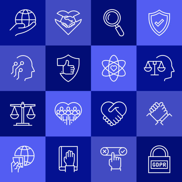 Simple Set of Business Ethics Related Vector Line Icons. Outline Symbol Collection Simple Set of Business Ethics Related Vector Line Icons. Outline Symbol Collection corporate responsibility stock illustrations