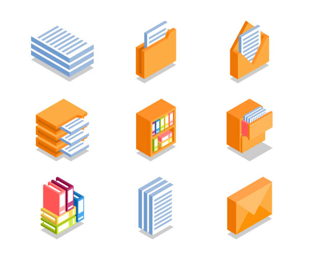 simple set of business icons. - ring binder stock illustrations