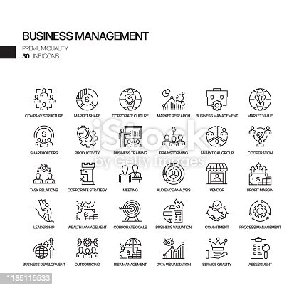 Simple Set of Business Management Related Vector Line Icons. Outline Symbol Collection.