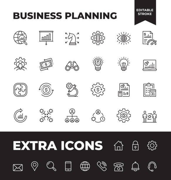 Simple Set of Business Planning Vector Line Icons Simple Set of Business Planning Vector Line Icons. Editable Stroke. 32x32 Pixel Perfect. financial planning stock illustrations