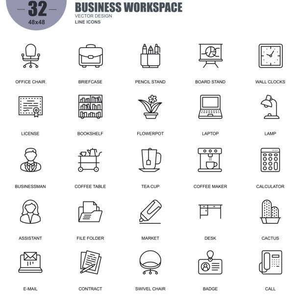 비즈니스 작업의 간단한 세트 관련 벡터 라인 아이콘 - 칸 가구 stock illustrations