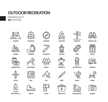 Simple Set of Camping and Outdoor Recreation Related Vector Line Icons. Outline Symbol Collection.