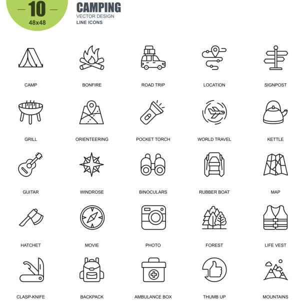 Simple set of camping related vector line icons vector art illustration