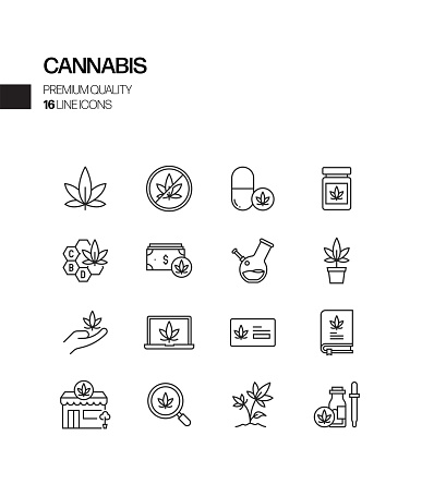 Simple Set of Cannabis Related Vector Line Icons. Outline Symbol Collection