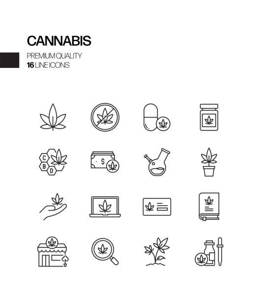 Simple Set of Cannabis Related Vector Line Icons. Outline Symbol Collection Simple Set of Cannabis Related Vector Line Icons. Outline Symbol Collection marijuana stock illustrations