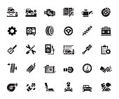 Simple Set of Car Service Related Vector Icons. Symbol Collection.