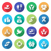 Simple Set of Charity and Donation Related Vector Flat Icons. Symbol Collection.