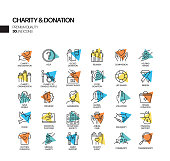 Simple Set of Charity and Donation Related Vector Spotlight Line Icons. Outline Symbol Collection.