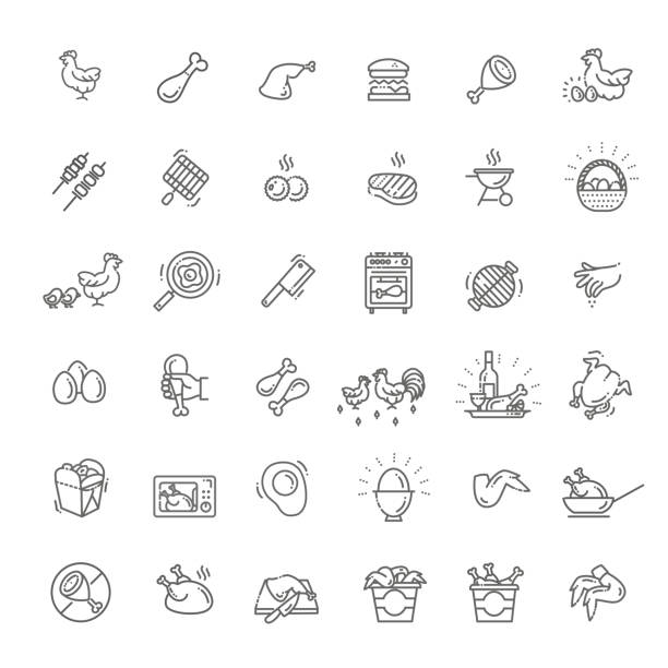 prosty zestaw mięsa z kurczaka podobne vector line ikony - kurczak stock illustrations
