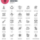 Simple Set of Christmas Related Vector Line Icons. Contains such Icons as Tree, Bell, Santa Claus, Snow Globe, Ball, Snowflake, Fireworks and more. Editable Stroke. 48x48 Pixel Perfect.