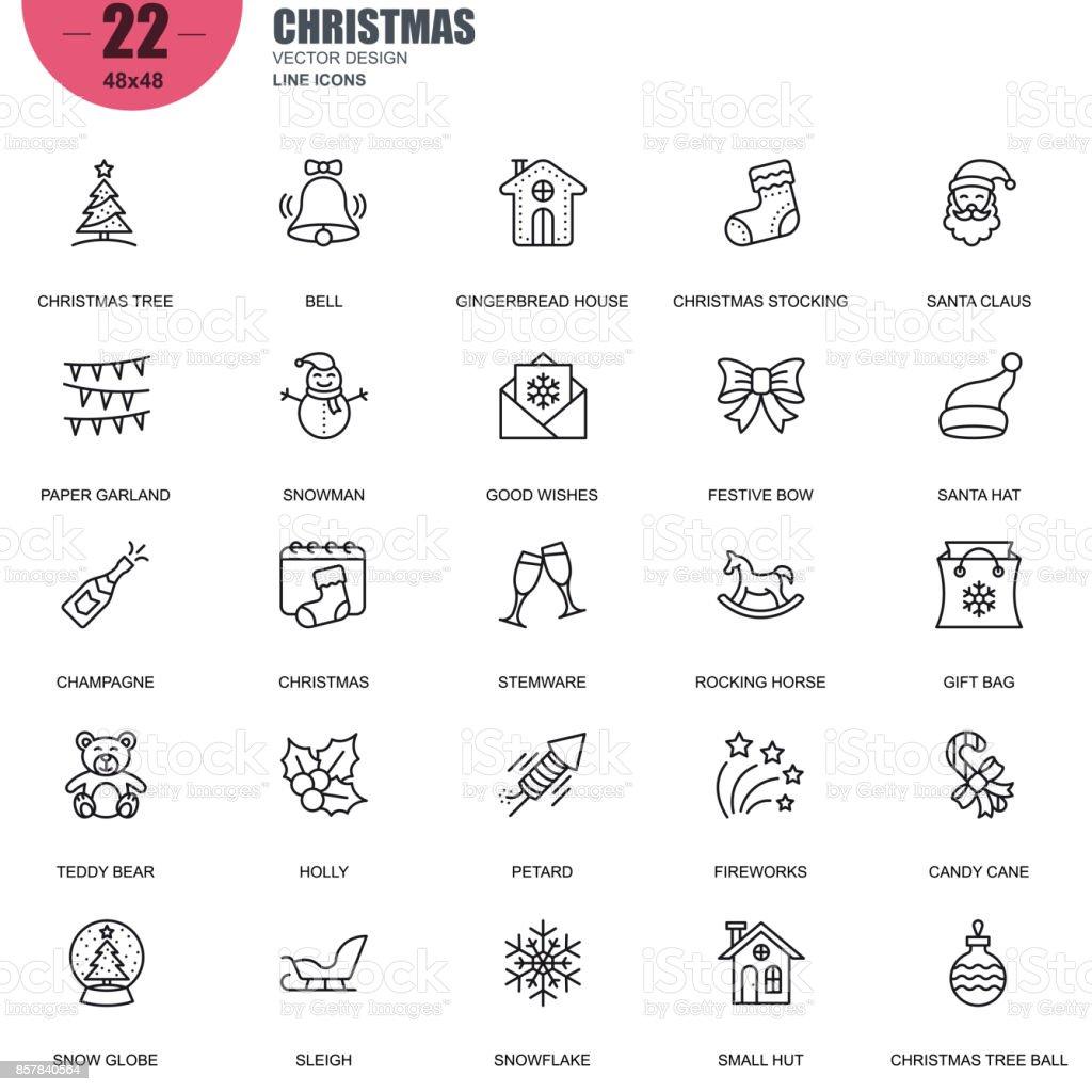 Conjunto simples de Natal relacionados vetor linha de ícones - ilustração de arte em vetor