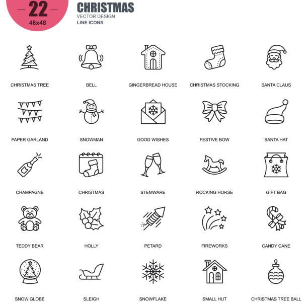 関連するベクトル線アイコンをクリスマスの簡単なセット - ホリデーシーズンのアイコン点のイラスト素材/クリップアート素材/マンガ素材/アイコン素材