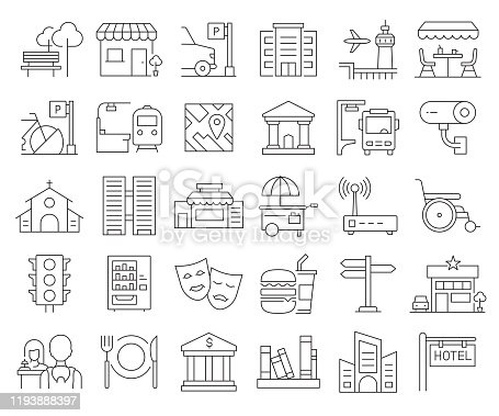 Simple Set of City Elements Related Vector Line Icons. Outline Symbol Collection. Editable Stroke.