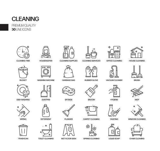 illustrations, cliparts, dessins animés et icônes de ensemble simple d'icônes de ligne vectorielle connexes de nettoyage. collection de symboles de contour. - raclette