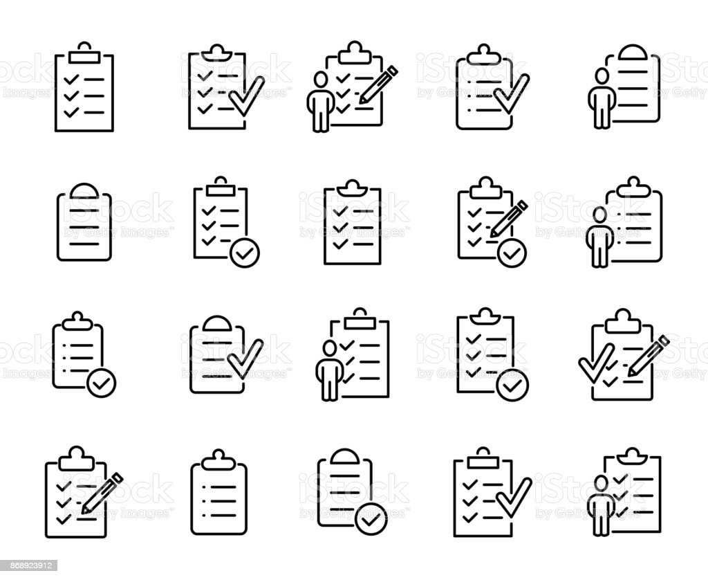 Simple set of clipboard related outline icons vector art illustration