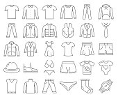 Simple Set of Clothes Related Vector Line Icons. Outline Symbol Collection. Editable Stroke